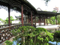 A Chinese Walkway. A distinctly chinese walkway set in a garden Stock Image