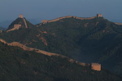 The Chinese Wall at Jinshanling with Sunrise Royalty Free Stock Photography