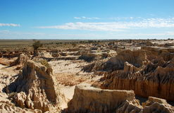 The Chinese Wall in Mungo National Park, Australia. Eroded clay pinnacle and patterns in the dunes of Mungo National Park, Australia Stock Photography
