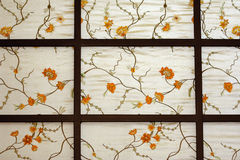 Chinese wallpaper with flowers and stems Royalty Free Stock Photo
