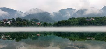 Chinese wonderlandriver with mountains and river stock image