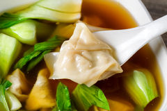 Chinese wanton soup with bok choy ready to eat Royalty Free Stock Image
