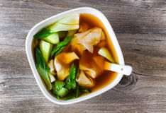 Chinese wanton and vegetable soup ready to eat Stock Images
