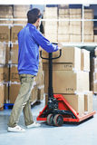 Chinese warehouse worker with forklift stacker Royalty Free Stock Photo