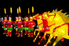Chinese warriors and horses lanterns Royalty Free Stock Images