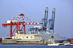 Chinese warship in the port of Djibouti Royalty Free Stock Photo