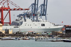 Chinese warship in the port of Djibouti Royalty Free Stock Photography