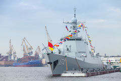 Chinese warship 174 stands on Neva River. Saint-Petersburg, Russia - July 28, 2017: Chinese warship 174 stands moored on the Neva River. Rehearsal for the parade royalty free stock photos
