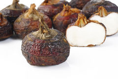 Chinese water chestnut. On white stock photography