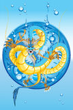 Chinese Water Dragon New Year. An Illustration Of Chinese Water Dragon New Year Useful As Icon, Illustration And Background For Chinese New Year Theme stock illustration