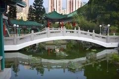 Chinese water garden bridge Royalty Free Stock Image