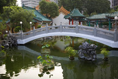 Chinese Water Garden Bridge Temple Hong Kong Stock Photography
