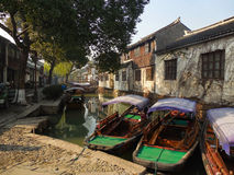Chinese Water Taxis in Wuzhen, Tongxiang China 2 Royalty Free Stock Photo