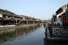 Chinese water village Xitang in Zhejiang Province Royalty Free Stock Photos
