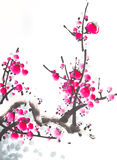 Chinese watercolor cherry painting Royalty Free Stock Photo
