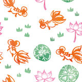 Chinese Watercolor Painting Goldfish Seamless Pattern Stock Photography
