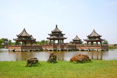 Chinese Waterfront Pavilions. Ancient Chinese Waterfront Pavilions (miniatures Stock Image