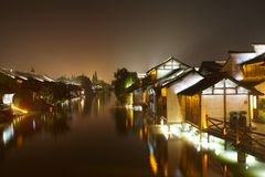 The Chinese watery town buildings Stock Image