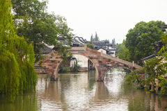 The Chinese watery town buildings Stock Photo