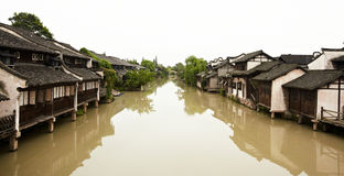 The Chinese watery town buildings Stock Photography