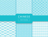 Chinese wavy pattern. Chinese blue wave seamless pattern set. 2017 New Chinese blue background. Asian traditional seamless blue pattern with waves ornament. Wavy Royalty Free Stock Photography