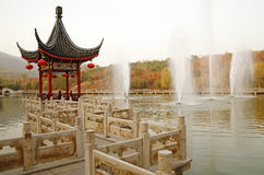 Chinese wayside pavilion in fall Stock Photo