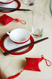 Chinese wedding banquet table setting. With the gift on the table Royalty Free Stock Photo