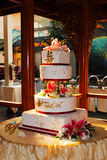 Chinese wedding cake. Traditional chinese wedding cake at sunset moment in a hotel, edmonton, alberta, canada Stock Images