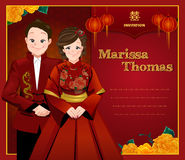 Chinese wedding card, bride and groom in traditional chinese dress. Chinese wedding card, bride and groom standing beside each other in traditional chinese dress Stock Photos