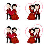 Chinese wedding cartoon, bride and groom holding each other Royalty Free Stock Image