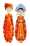 Chinese Wedding Couple. Easy to edit vector illustration of Chinese wedding couple Stock Images
