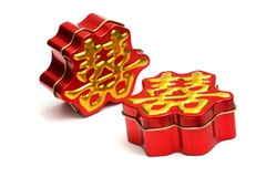 Chinese wedding gift box. Two chinese wedding gift boxes on white royalty free stock photography