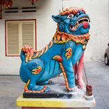 Chinese welcoming lion sculpture Royalty Free Stock Images