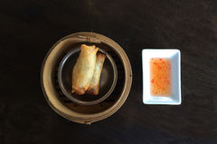 The Chinese well known food Spring rolls  with  sweet and sour sa Stock Photos