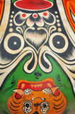 Chinese western civilian art pattern. Chinese western totem pattern on mask, shown as various culture, religion, worship, apotheosis, enthrone, supernatural and Stock Photo