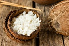Chinese white boiled rice in coconut emptied Stock Image