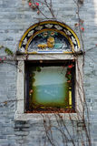 Chinese window. Covered by ivy royalty free stock photography