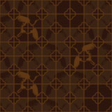 Chinese window four crane brown old seamless pattern Stock Images