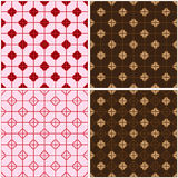 Chinese window four red brown seamless pattern set Stock Image