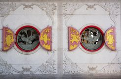 Chinese  window. Red chinese temple window Royalty Free Stock Photos