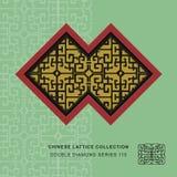 Chinese window tracery lattice double diamond frame geometry  Royalty Free Stock Photo
