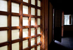 Chinese window. Traditional chinese wooden frame window Stock Photo