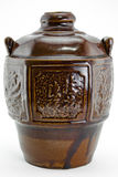 Chinese wine jar. Rice wine in the ceramic jar,chinese national special local product wine on white background Royalty Free Stock Image