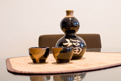 Chinese wine set with reflection Royalty Free Stock Photography