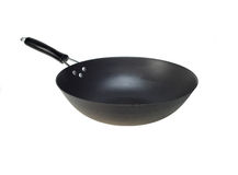 Chinese wok pan isolated on white. Traditional chinese wok pan pot isolated on white Stock Images