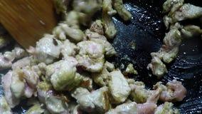 Chinese wok, roasting pork meat stock video footage