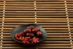 Chinese wolfberry and red dates. This picture for the Chinese wolfberry and red dates. They are Chinese eat nutritious health food. Can be soaked in water Royalty Free Stock Images