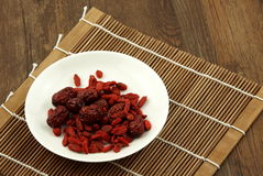 Chinese wolfberry and red dates Stock Photos