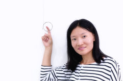 Chinese woman against white background stock photos