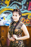 Chinese woman back dress traditional cheongsam Stock Images